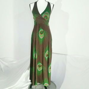 Tommy Hillier peacock halter dress, size S